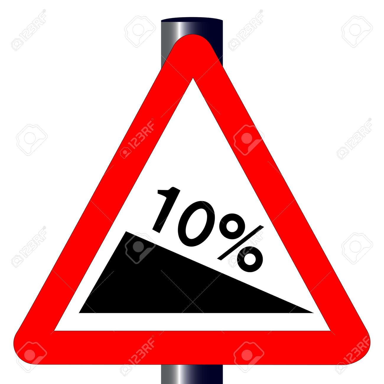 The traditional  10  INCLINE  triangle, traffic sign isolated on a white background Stock Vector - 24250185