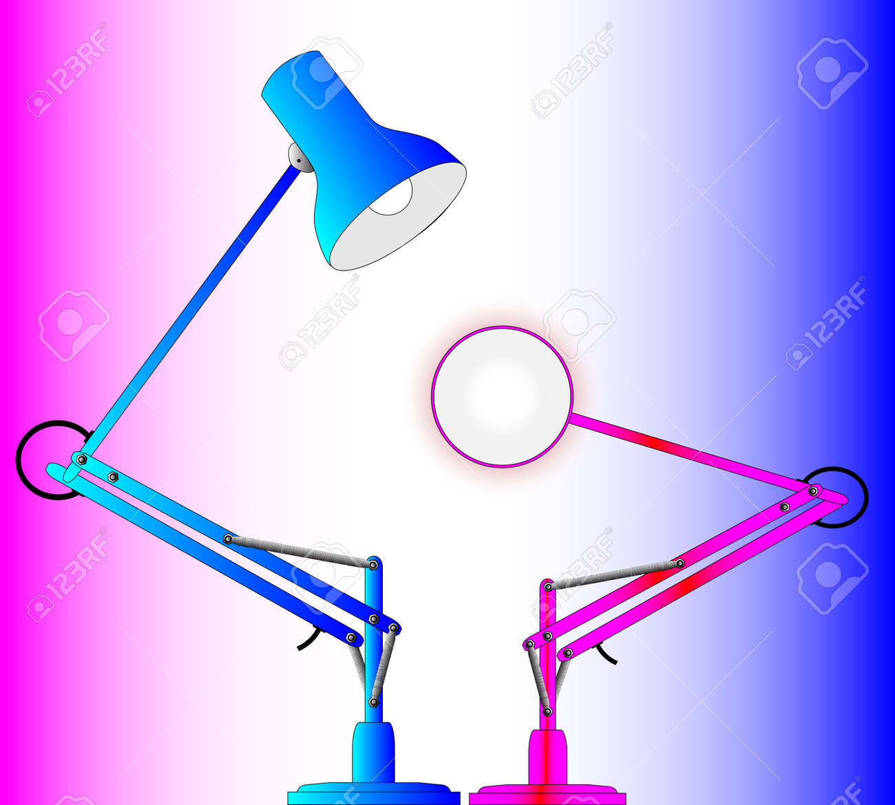 A pair of angle poise lamps Stock Vector - 24640571