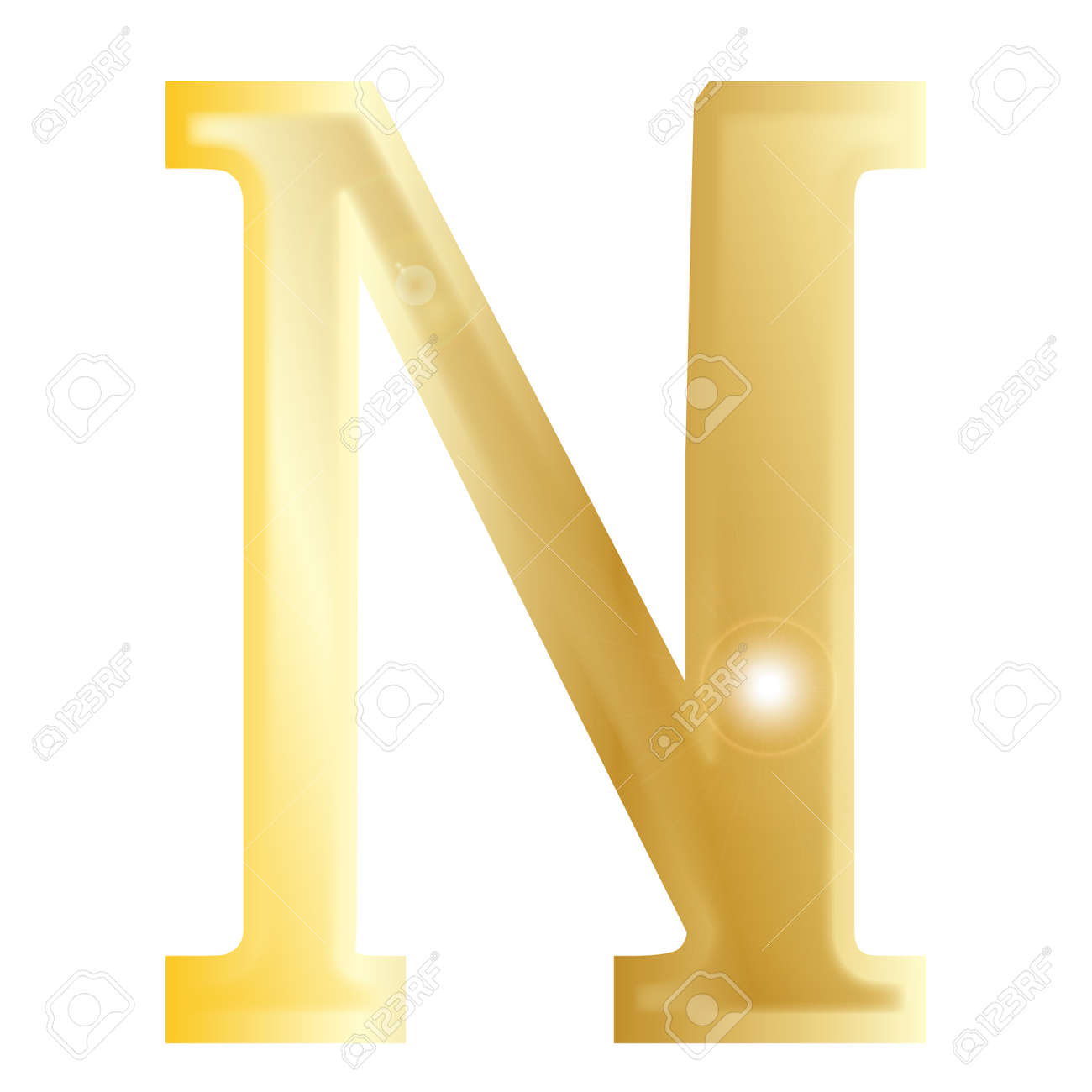 Nu A Letter From The Greek Alphabet Isolated Over A White