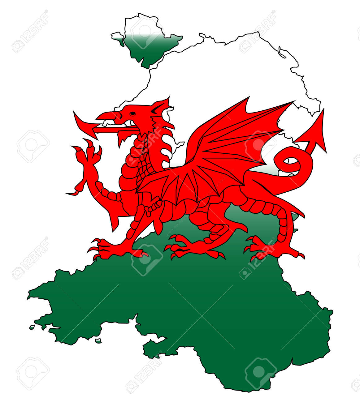 outline of wales with a welsh dragon isolated on white royalty