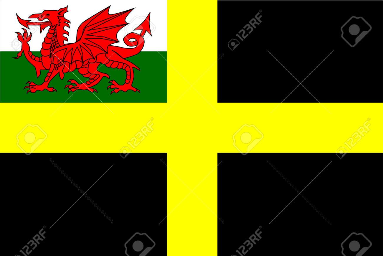banque dimages le drapeau de saint david un fond noir avec une croix jaune avec le dragon gallois encart