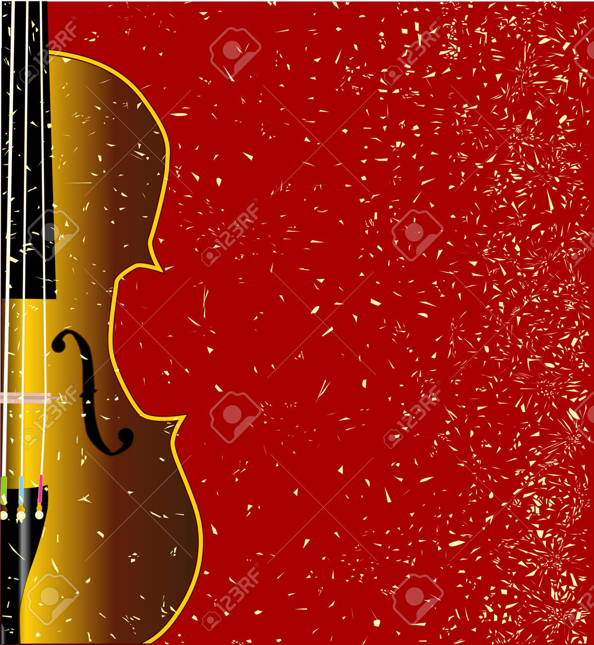 A typical violin close up over a red grunge style background Stock Vector - 25882438