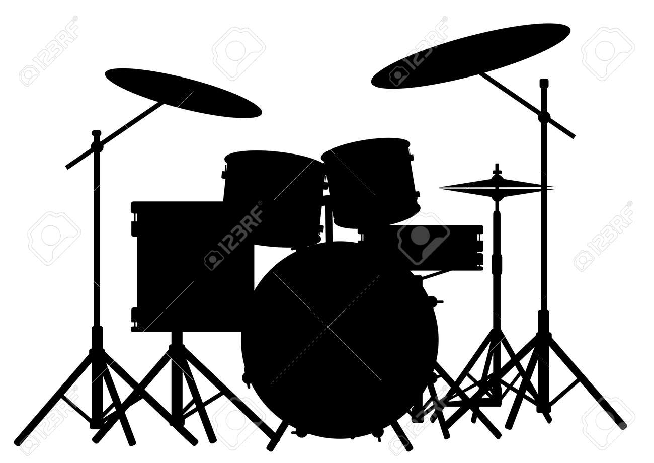 White Drum Set Drum Kit Isolated on White