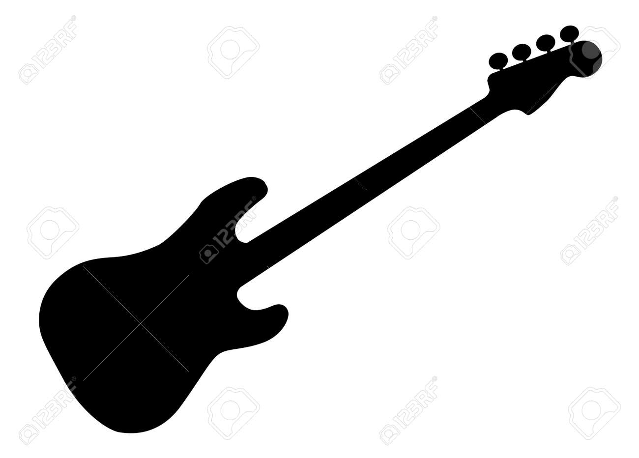 silhouette of a generic bass guitar isolated over a white background rh 123rf com acoustic guitar silhouette vector free guitar man silhouette vector