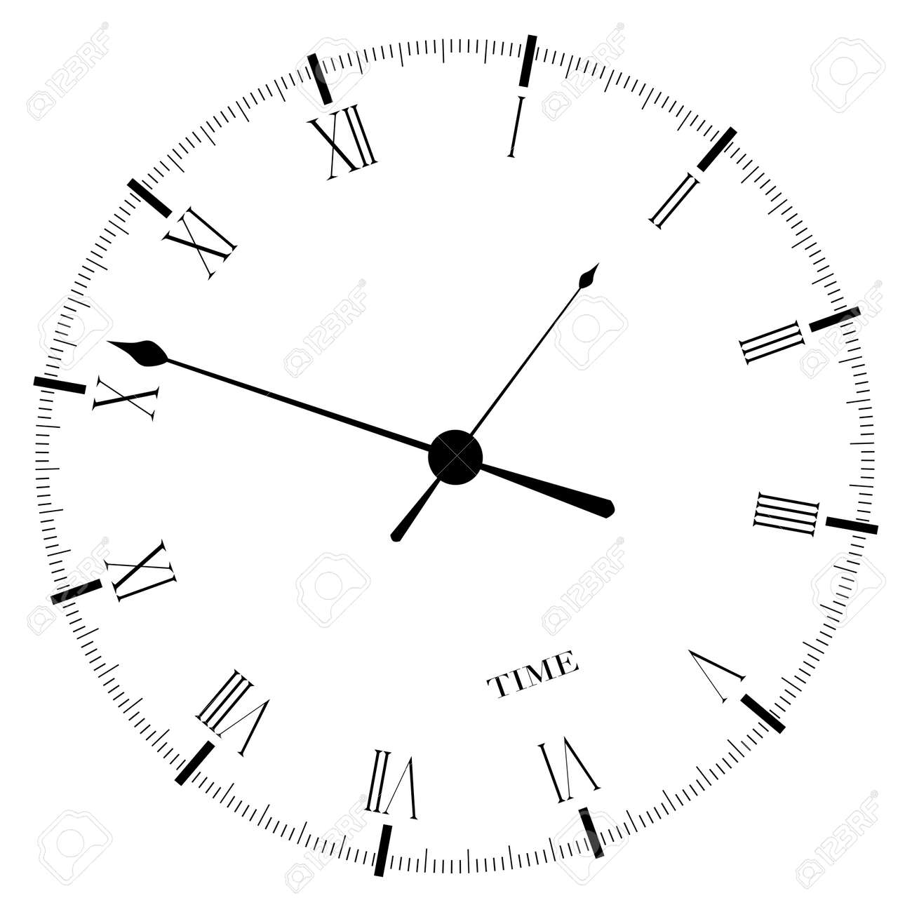 33a315d4865a Un viejo Inglés esfera del reloj del tipo de oficina aislada sobre un fondo  blanco