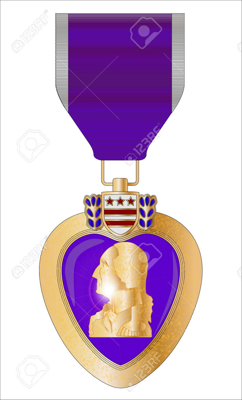 A Purple Heart Medal Isolated On A White Royalty Free Cliparts ...