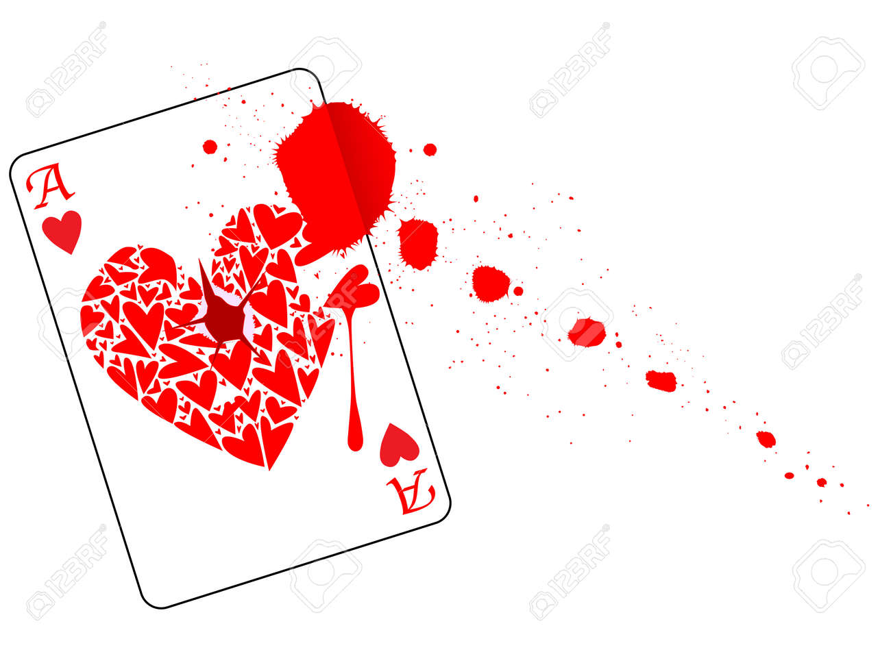 The Ace Of Hearts With A Bullet Hole Through The Centre And Blood