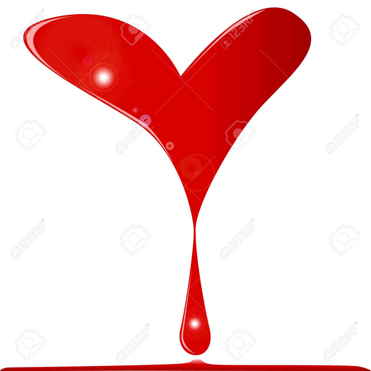 Un Corazón Roto Sangrando Una Gran Gota De Sangre En Una Piscina