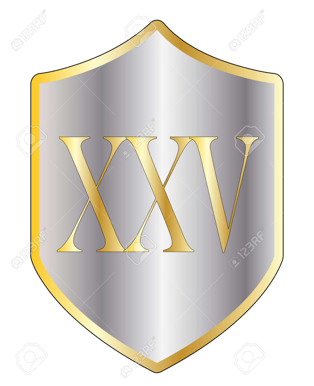 A typical shield with 25 in Roman numerals all isolated on a..