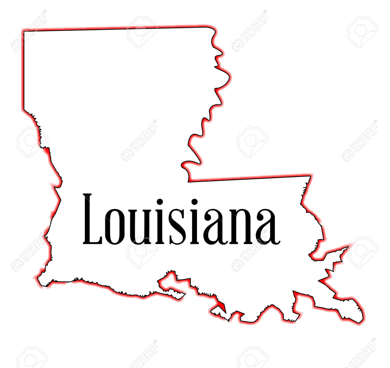 State Map Outline Of Louisiana Over A White Background Royalty - Louisana state map