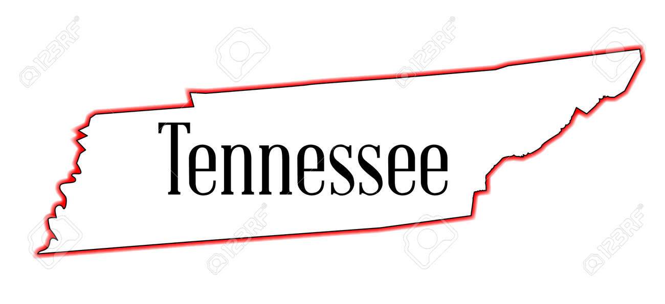 State Map Outline Of Tennessee Over A White Background Royalty