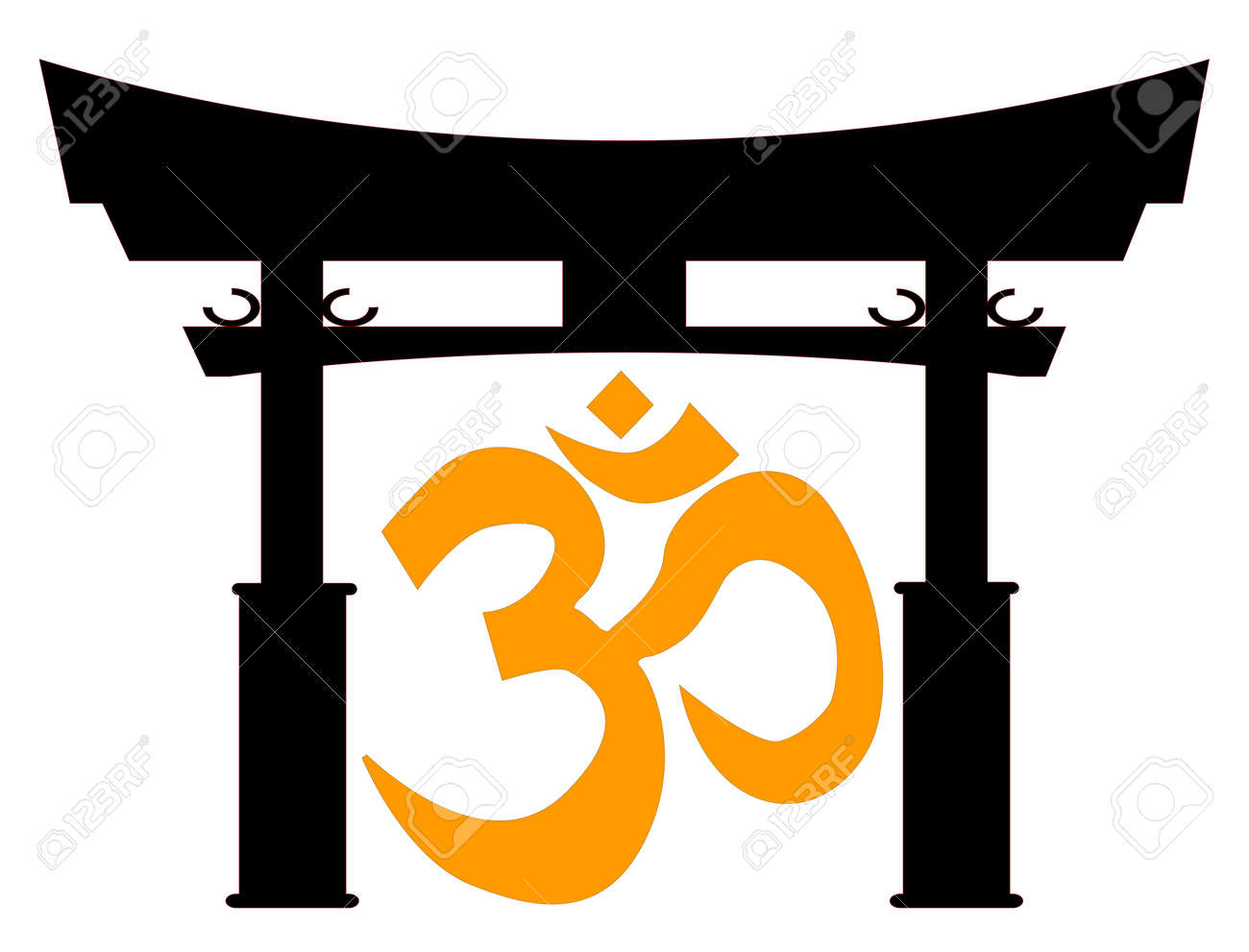 A typical japanese tori gate silhouette over white with the om a typical japanese tori gate silhouette over white with the om symbol stock vector 32058467 biocorpaavc Images