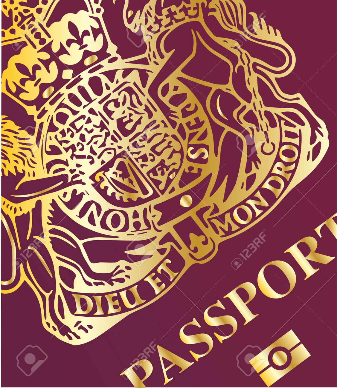 af2ae5164 Closeup of the front cover of a new british passport Stock Vector - 32135744
