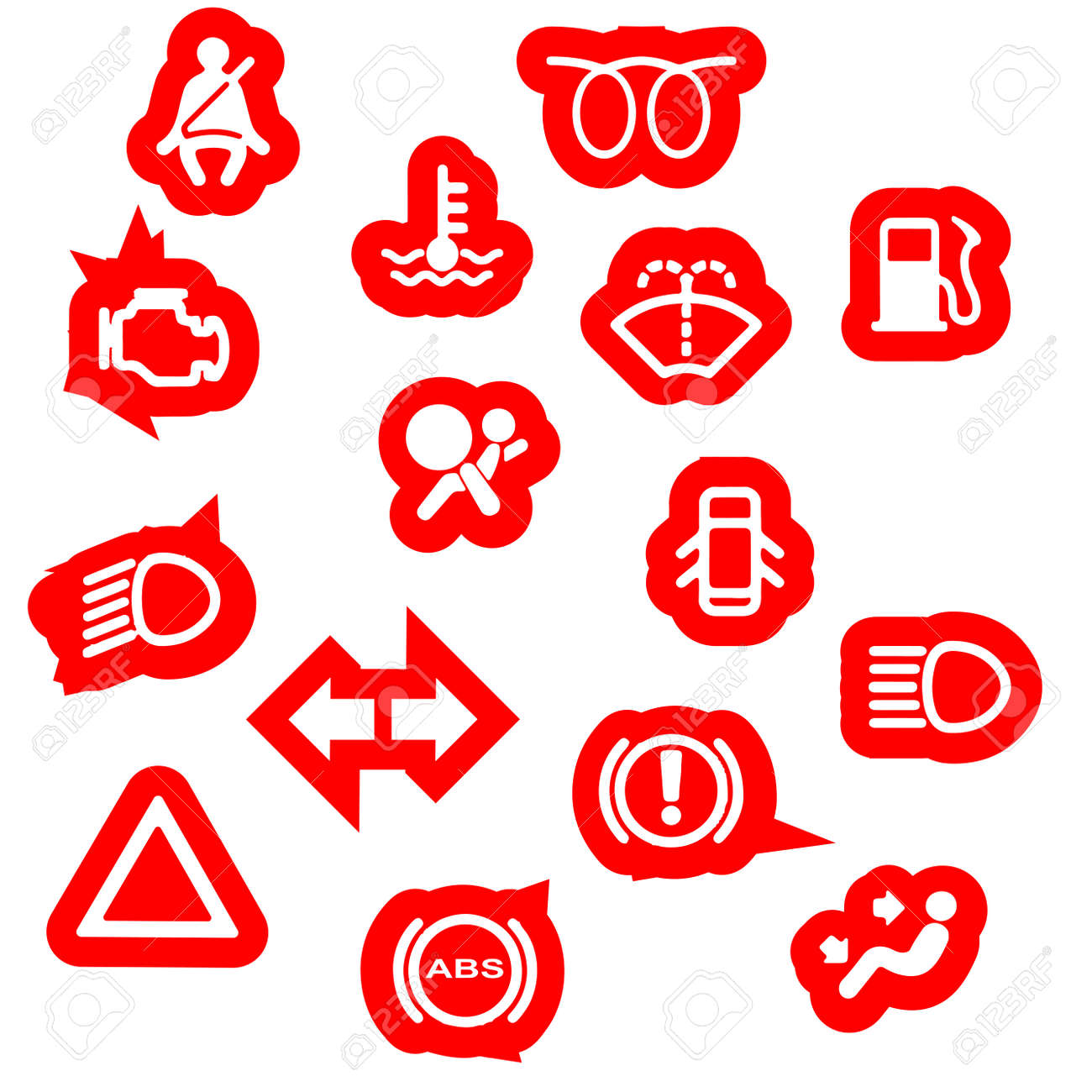 A Collection Of Automobile Dash Warning Light Symbols Royalty Free