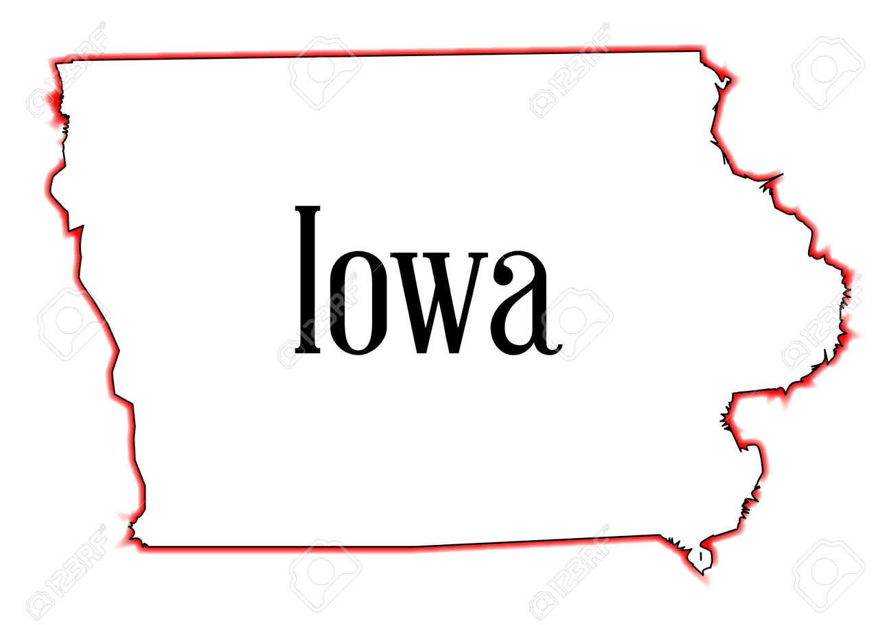 Outline Map Of The State Of Iowa Over A White Background Royalty - State of iowa map