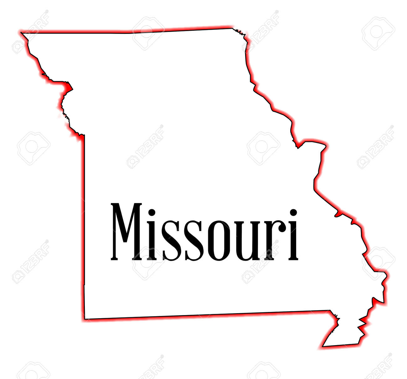 Outline Map Of The State Of Missouri Royalty Free Cliparts - Map of state of missouri