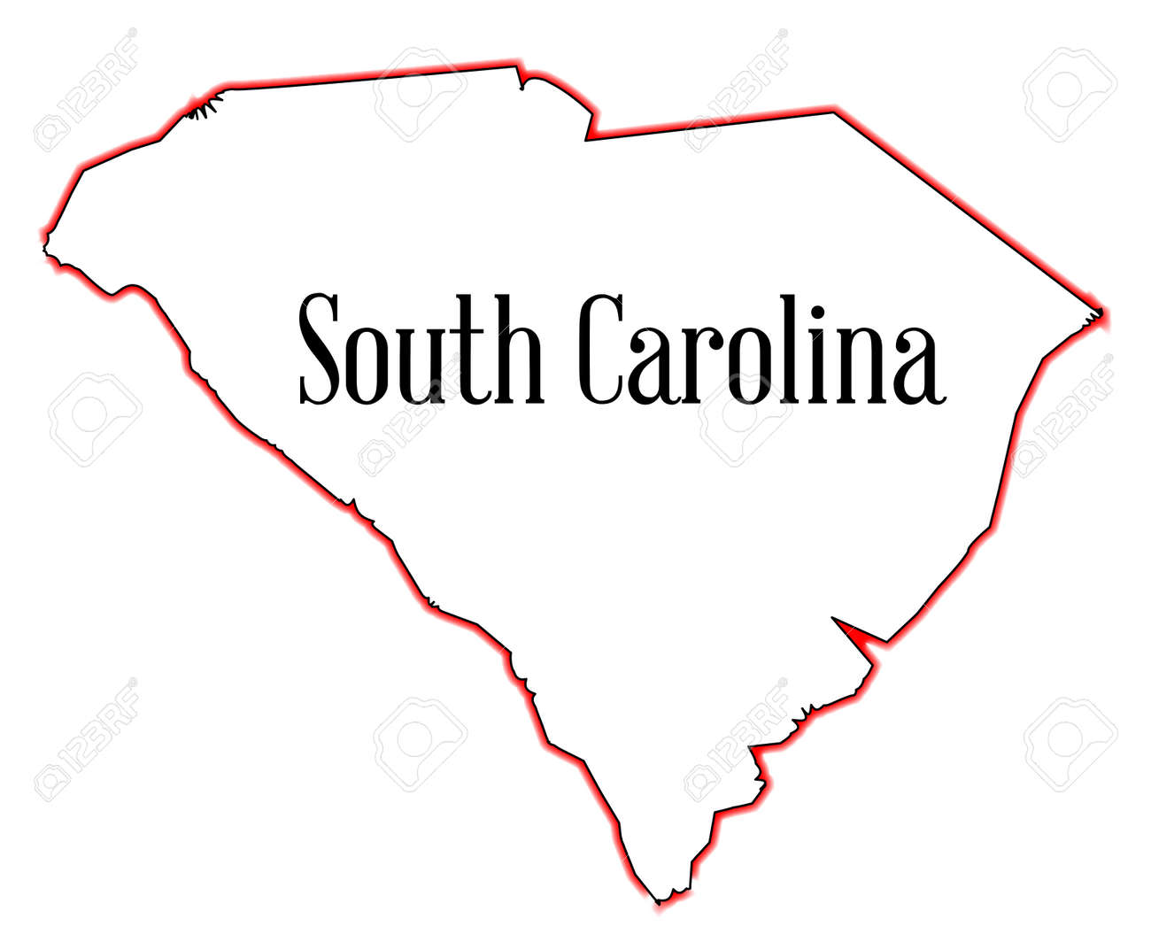 Outline Map Of The State Of South Carolina Royalty Free Cliparts