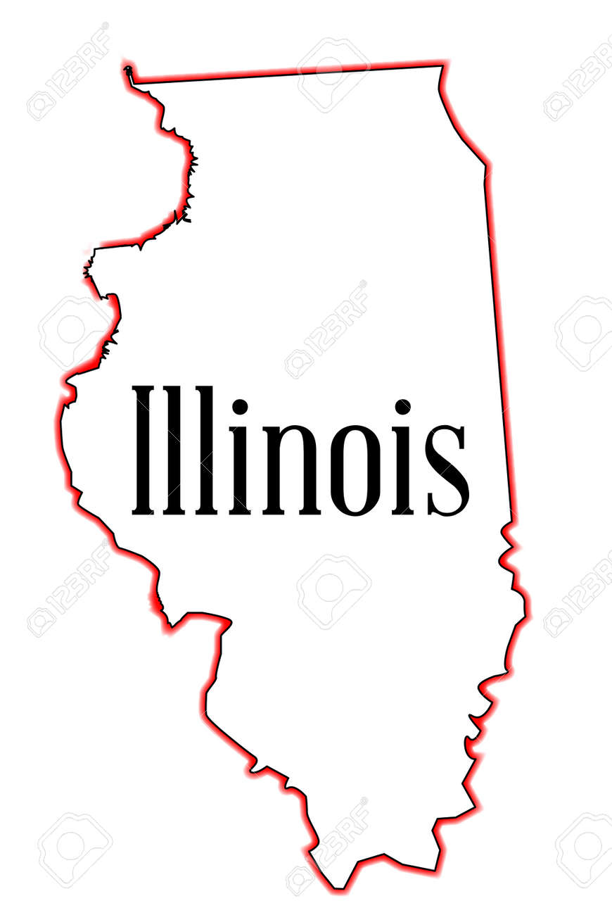 Outline Map Of The USA State Of Illinois Over A White Background - Usa state outline map