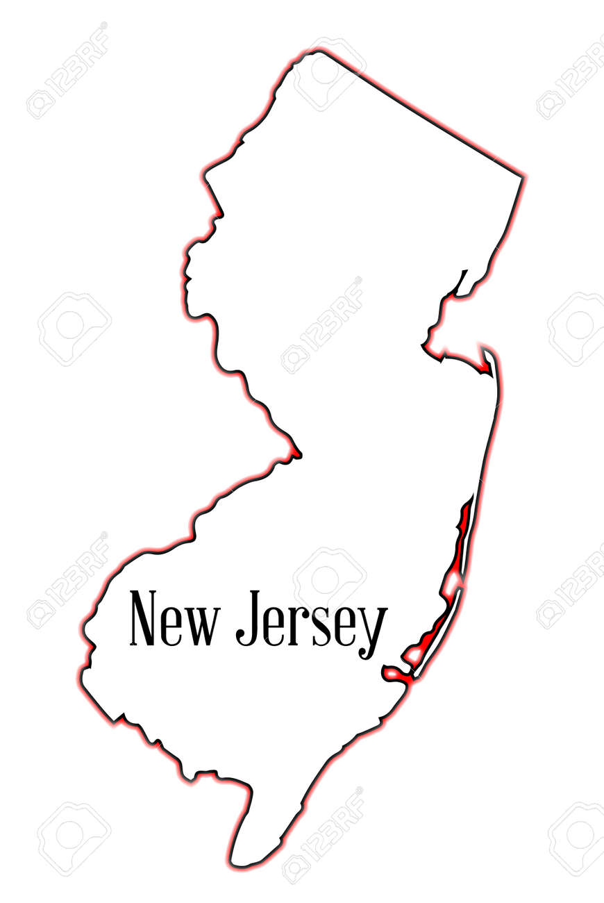 Outline Map Of The State Of New Jersey Over A White Background - Map of the state of new jersey