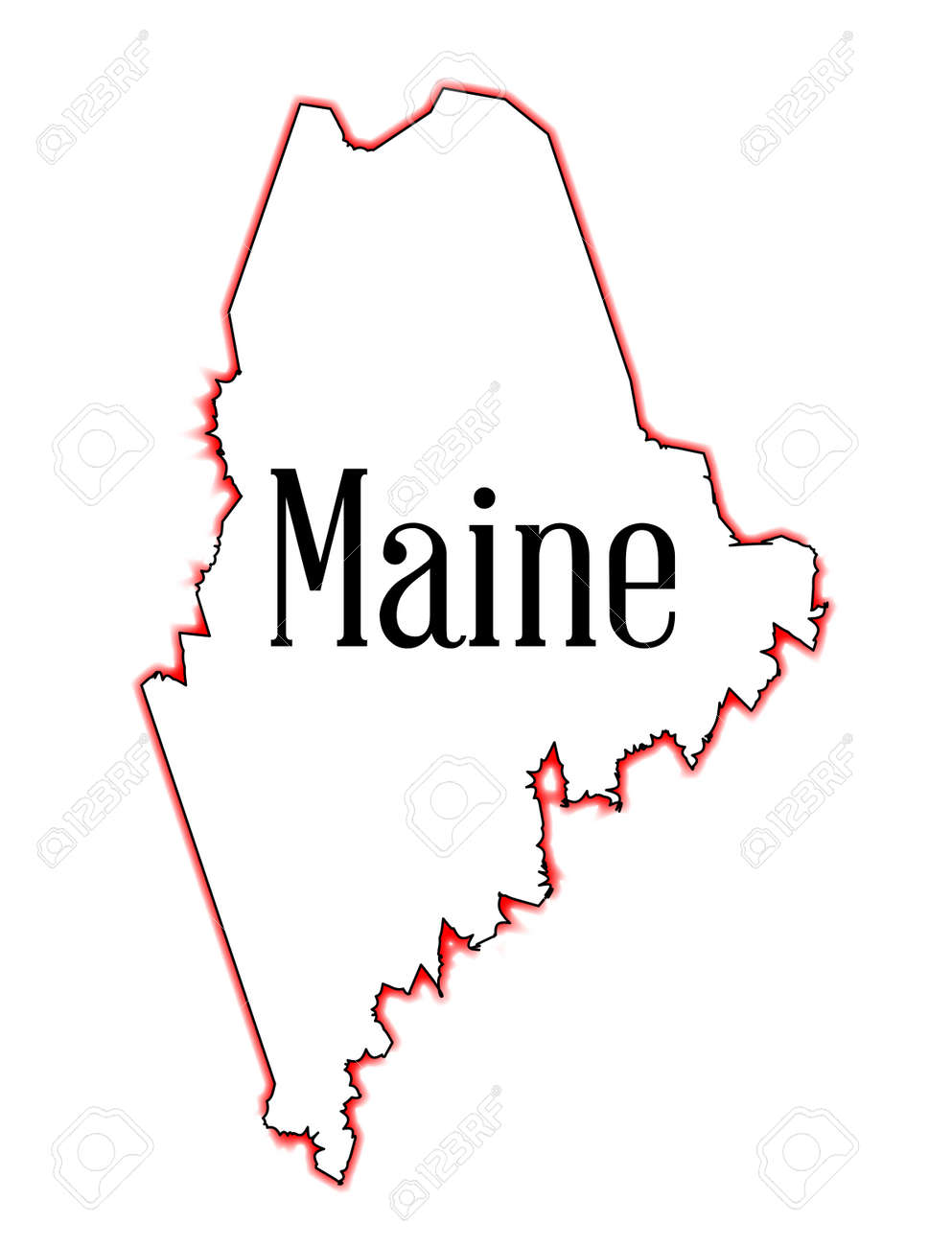 Outline Map Of The State Of Maine Over White Royalty Free Cliparts - State of maine map