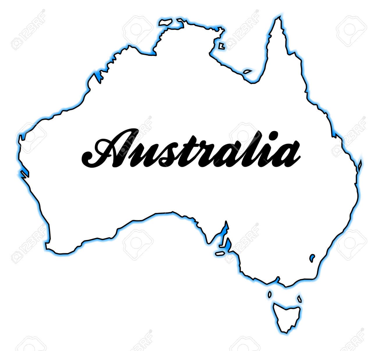 Australia Map Outline Vector.Outline Map Of Australia Over A White Background