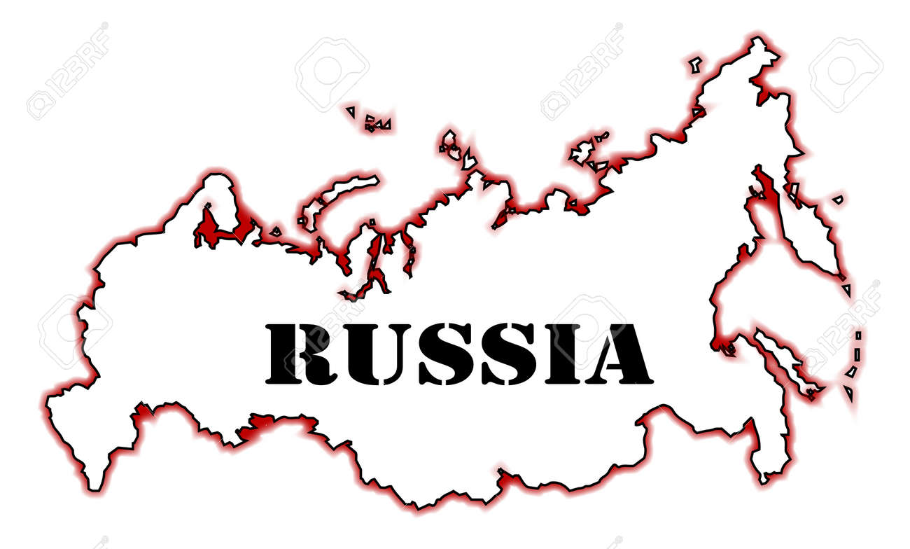 Outline Map Of Russia Isolated Over A White Background Royalty - Blank map of russia