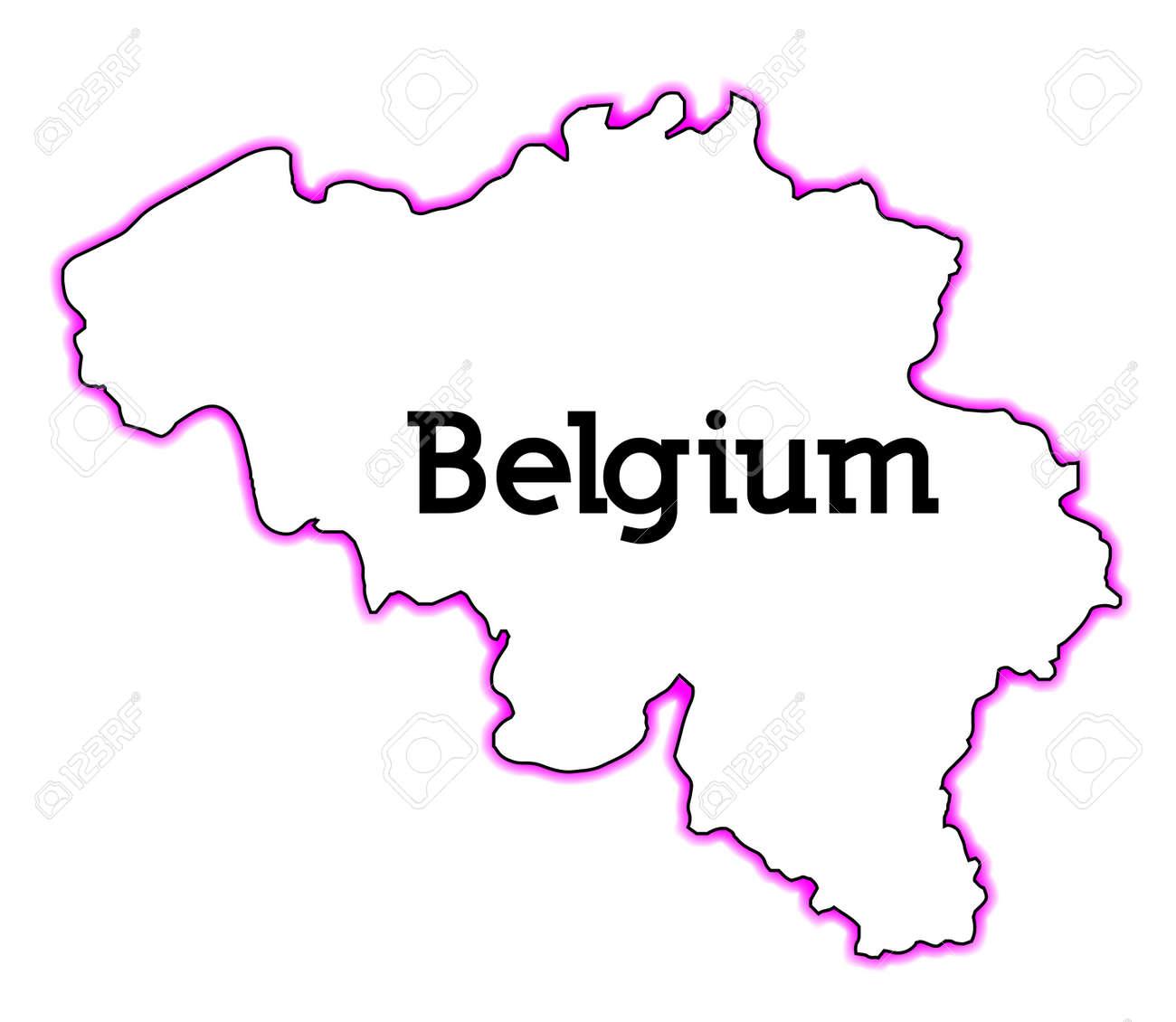 Blinde Kaart Van Belgie Over Een Witte Achtergrond Royalty Vrije