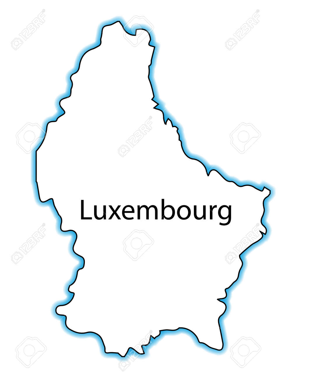 Outline Map Of Luxembourg Over A White Background Royalty Free - Luxembourg map vector