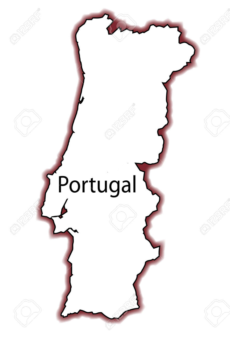 Outline Map Of Portugal Over A White Background Royalty Free - Portugal map outline