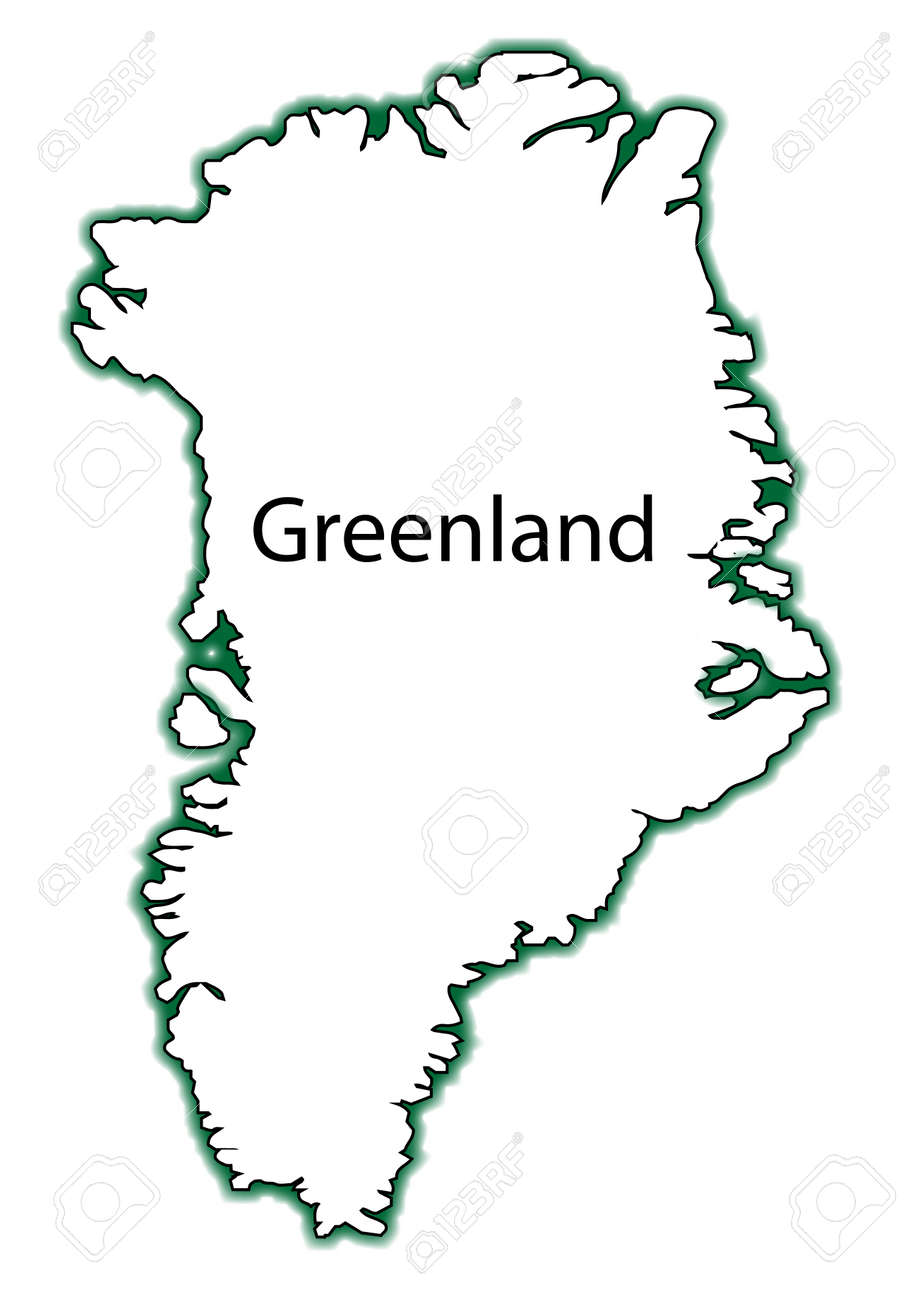 Outline Map Of Greenland Over A White Background Royalty Free - Greenland map