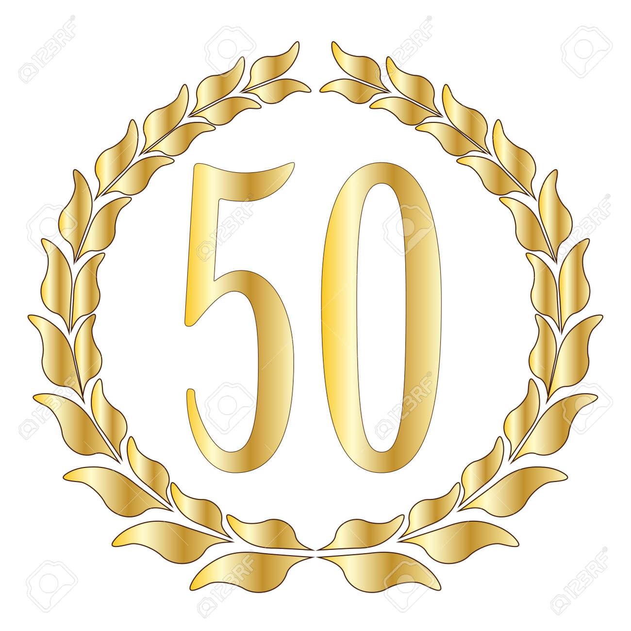 aniversario bodas oro Un símbolo de 50 años sobre un fondo blanco Vectores