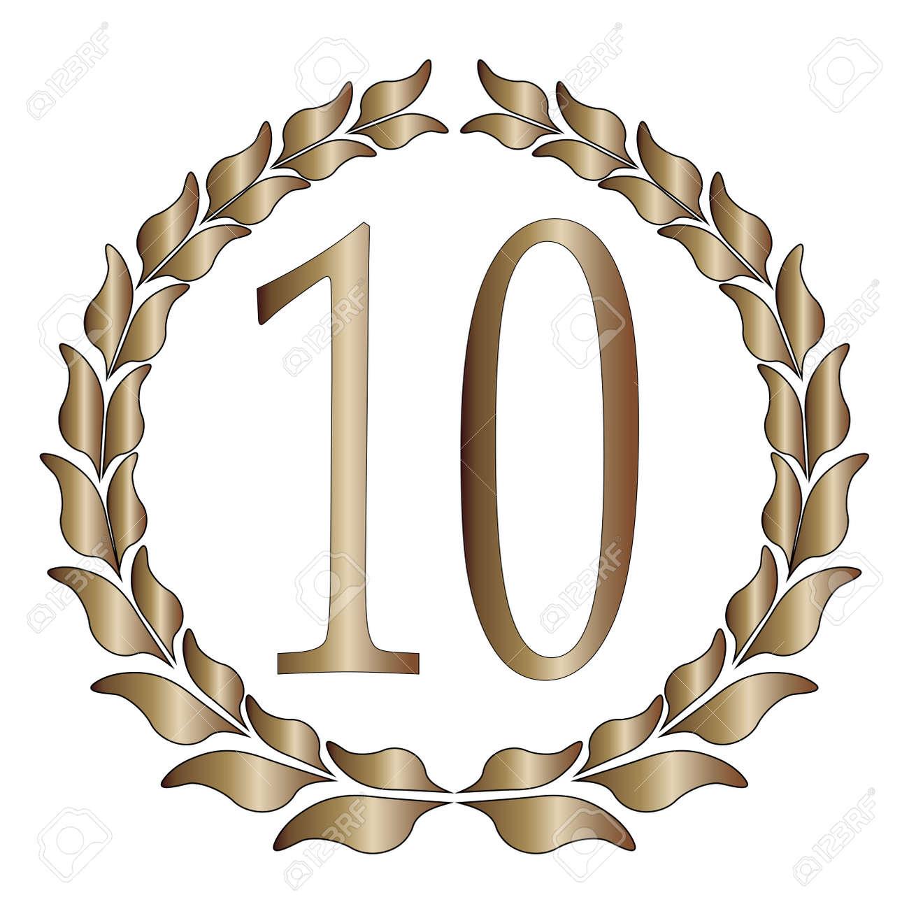 Ein 10 Jahriges Jubilaum Symbol Uber Einen Weissen Hintergrund