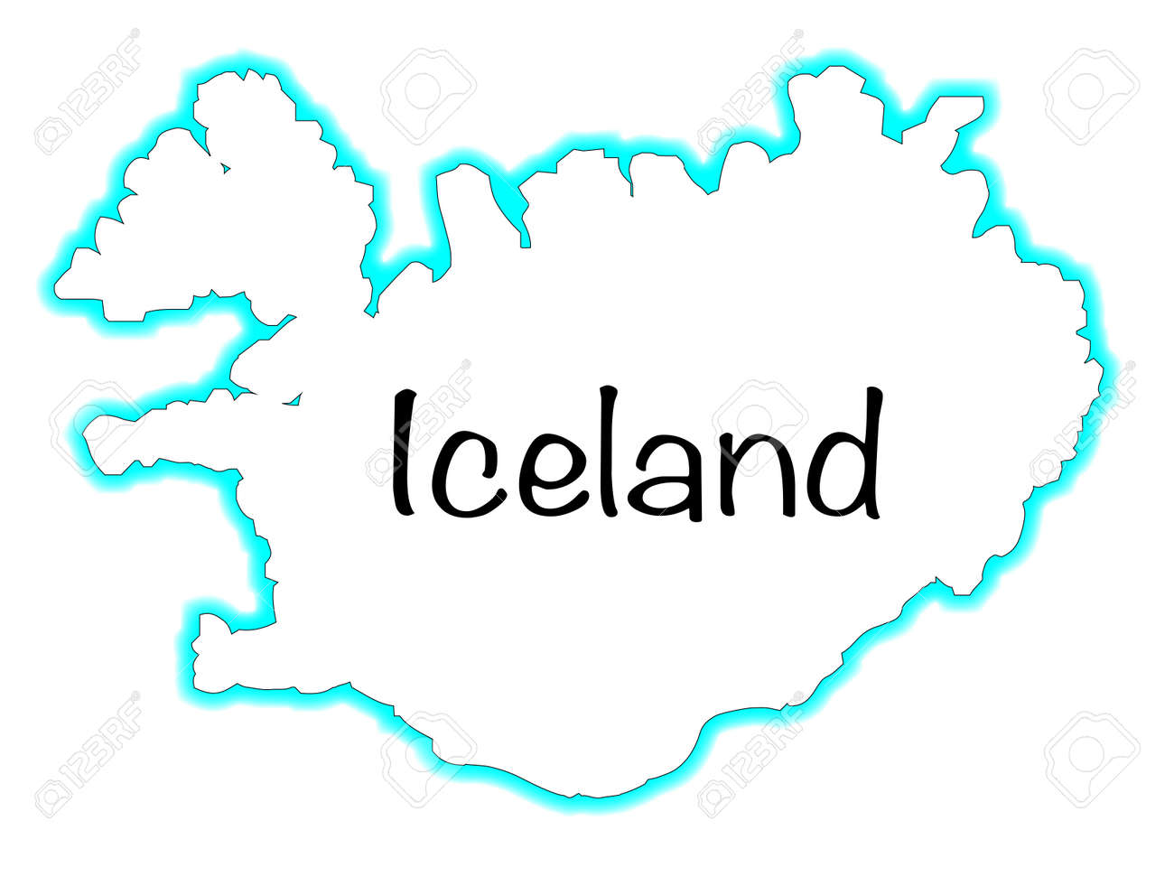 Image of: Outline Map Of Iceland Over A White Background Royalty Free Cliparts Vectors And Stock Illustration Image 33020515