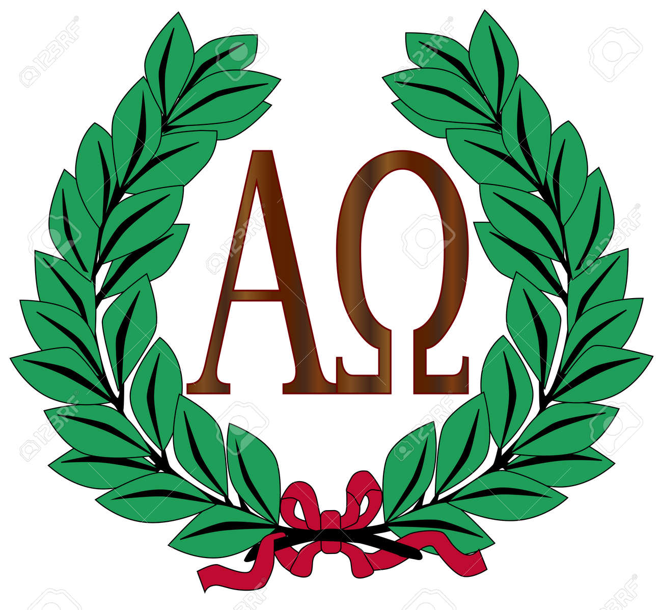 The Alpha Omega Symbols Over A White Background Within A Wreath