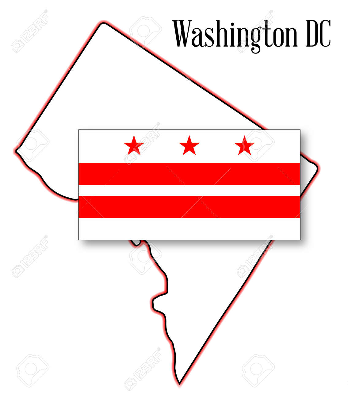Outline Map Of Washington DC Over A White Background With Flag - Washington dc map symbol