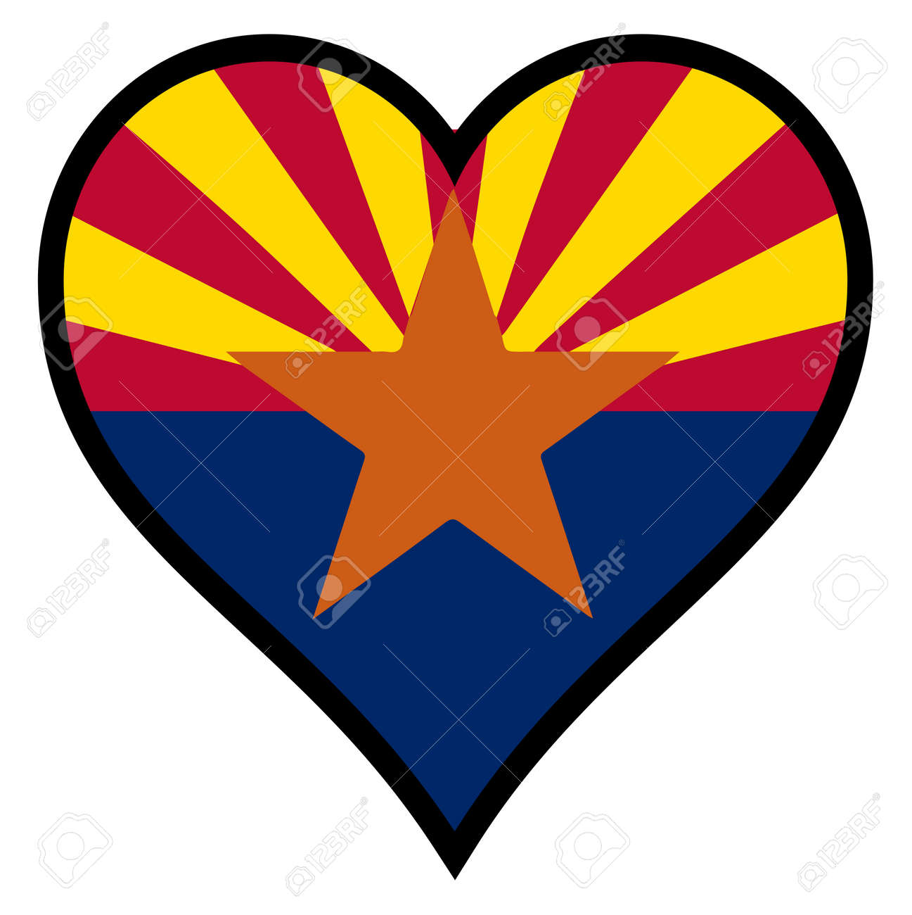The flag of the state of arizona within a heart all over a white the flag of the state of arizona within a heart all over a white background stock biocorpaavc Images
