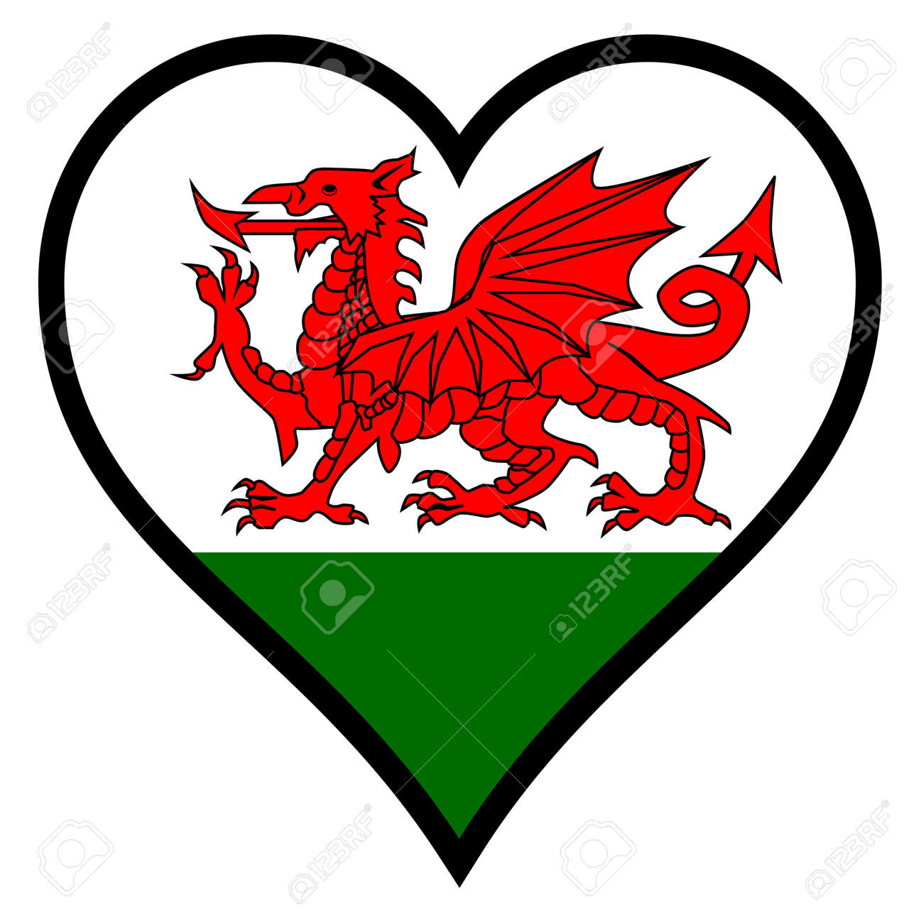 Welsh dragon flag within a heart all over a white background royalty welsh dragon flag within a heart all over a white background stock vector 34459471 biocorpaavc Images