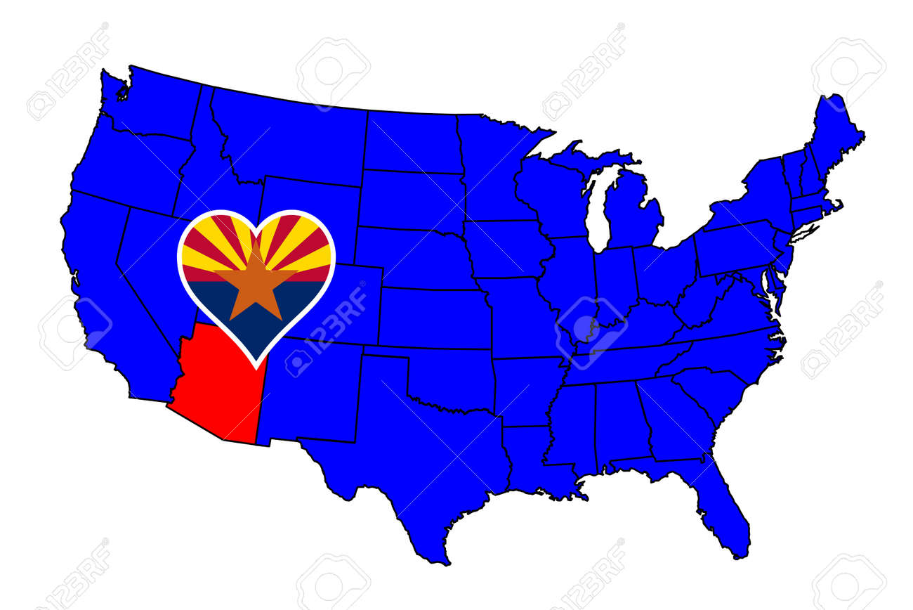 Arizona State Outline And Icon Inset Set Into A Map Of The United