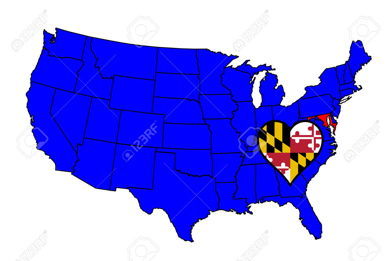 Maryland State Outline And Icon Inset Set Into A Map Of The United - Us map maryland state
