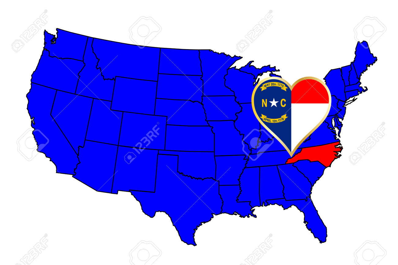 North Carolina state outline and icon inset set into a map of.. on elevation united states, latitude united states, region united states, longitude united states, culture united states, globe united states, continent united states, mountain united states, geography united states, climate united states,