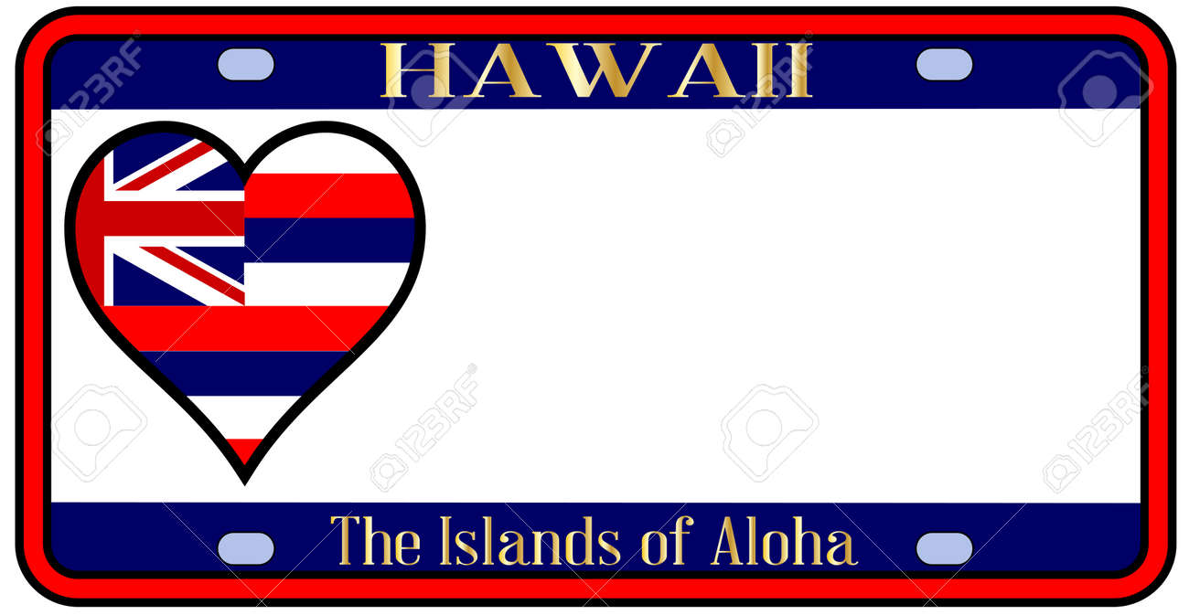 Hawaii State License Plate In The Colors Of Flag With Icons Over