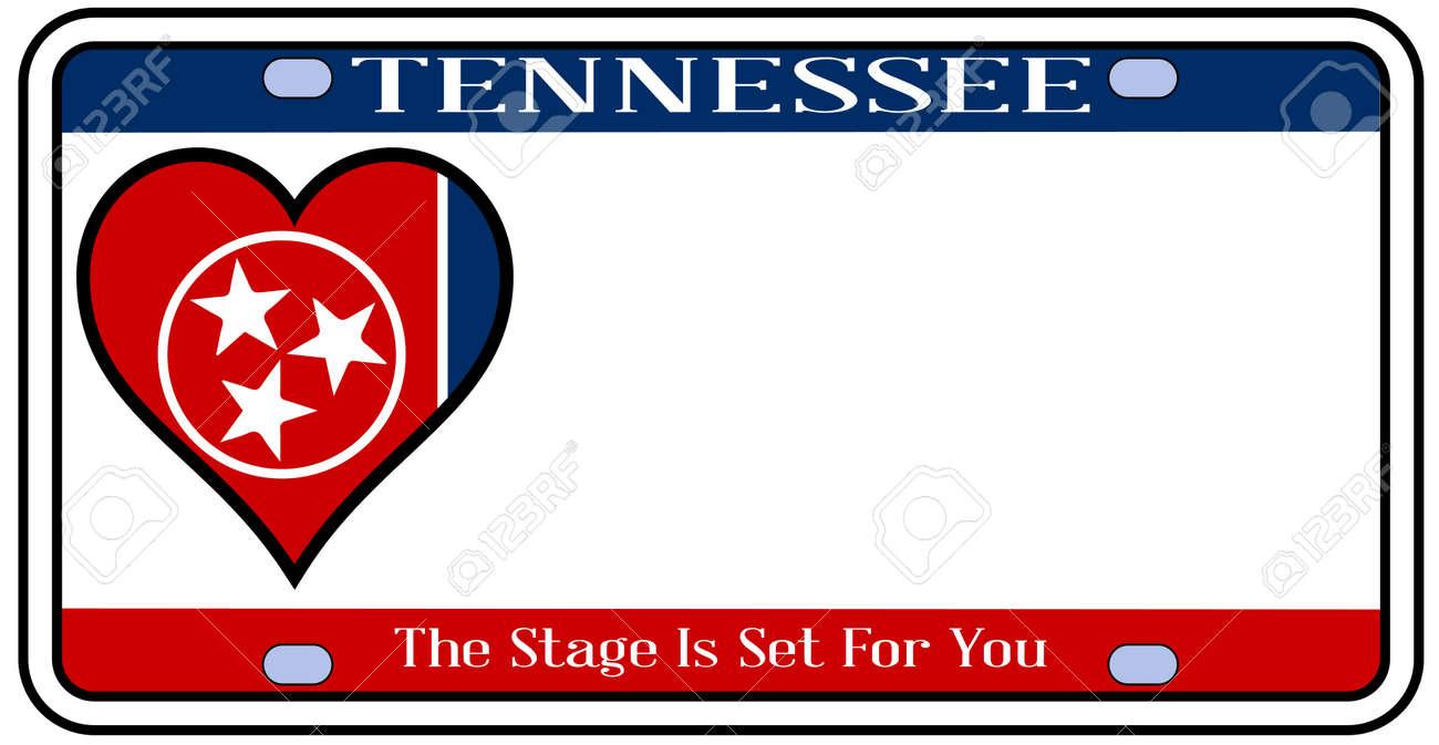 Tennessee Zustand Kennzeichen In Den Farben Der Staatsflagge Mit Den ...