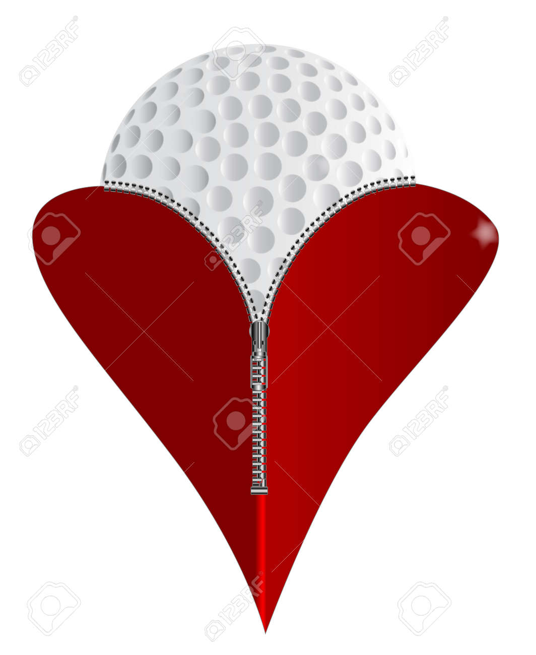 A red heart with a zipper showing a golf ball rising from within a red heart with a zipper showing a golf ball rising from within stock vector biocorpaavc Images