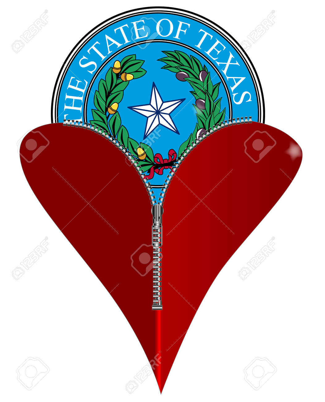 A red heart with a zipper showing texas state seal rising from a red heart with a zipper showing texas state seal rising from within stock vector biocorpaavc Images