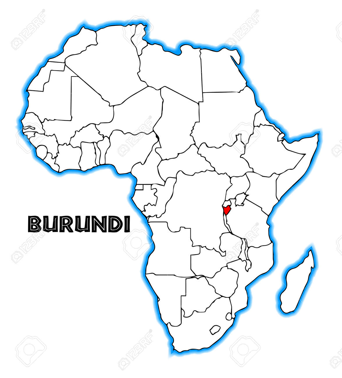 Burundi Outline Inset Into A Map Of Africa Over A White Background
