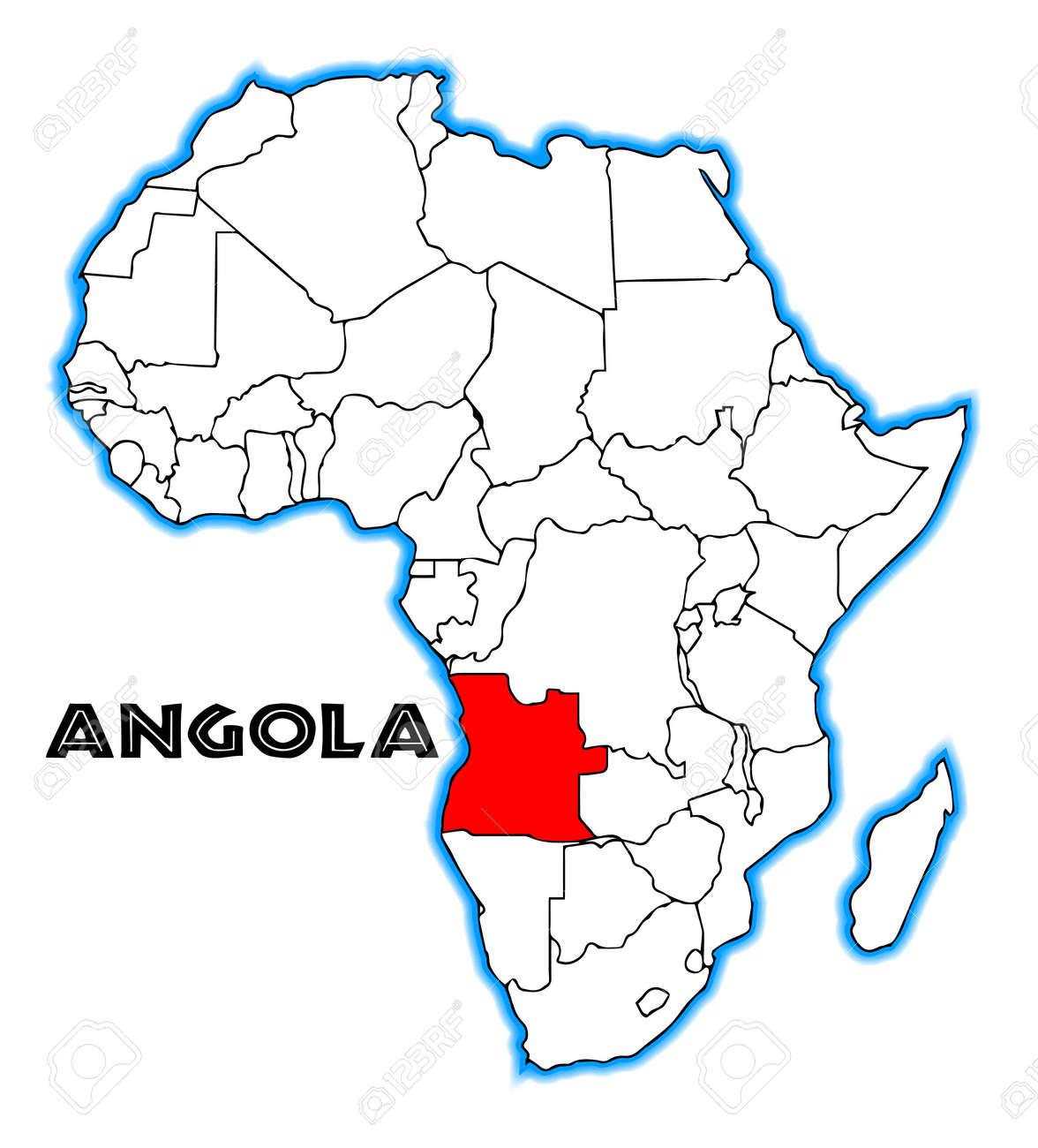 Carte Afrique Angola.Angola Outline Inset Into A Map Of Africa Over A White Background