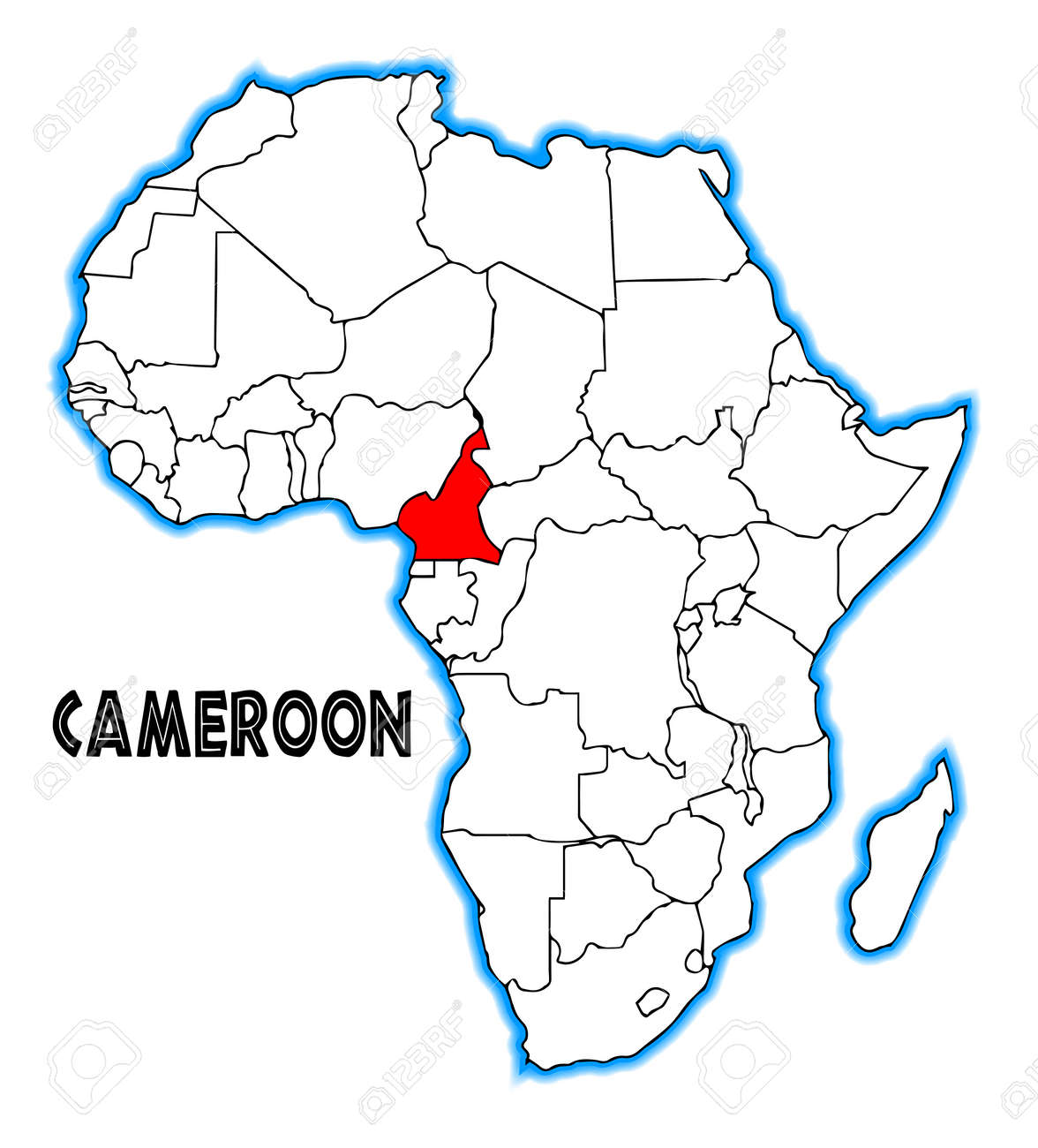 Map Of Africa Cameroon.Cameroon Outline Inset Into A Map Of Africa Over A White Background
