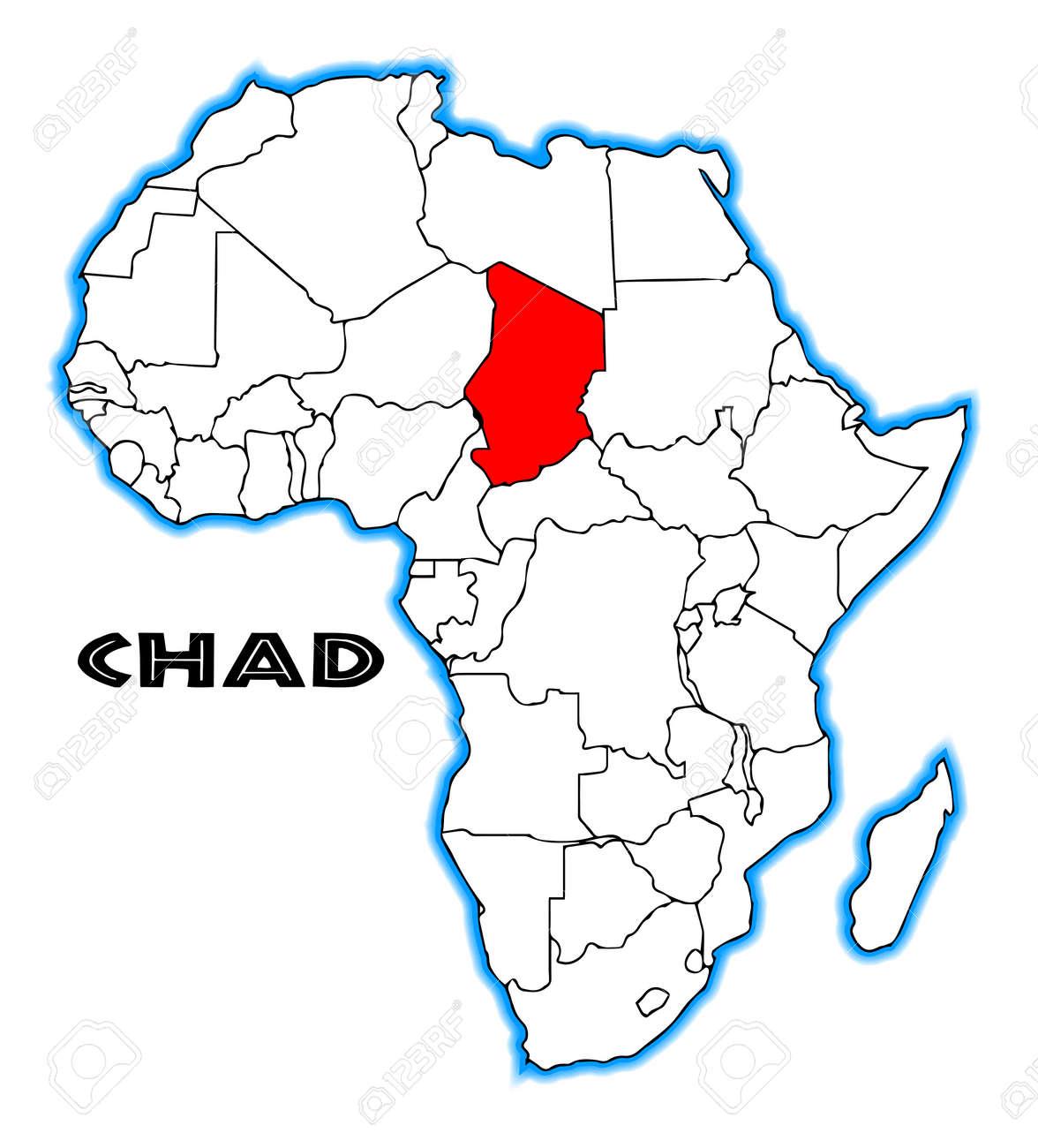 Carte De Lafrique Tchad.Tchad Apercu Incrustee Dans Une Carte De L Afrique Sur Un Fond Blanc