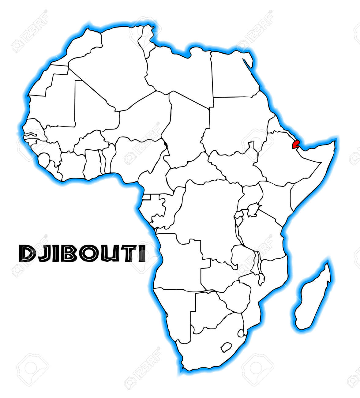 Djibouti outline inset into a map of Africa over a white background