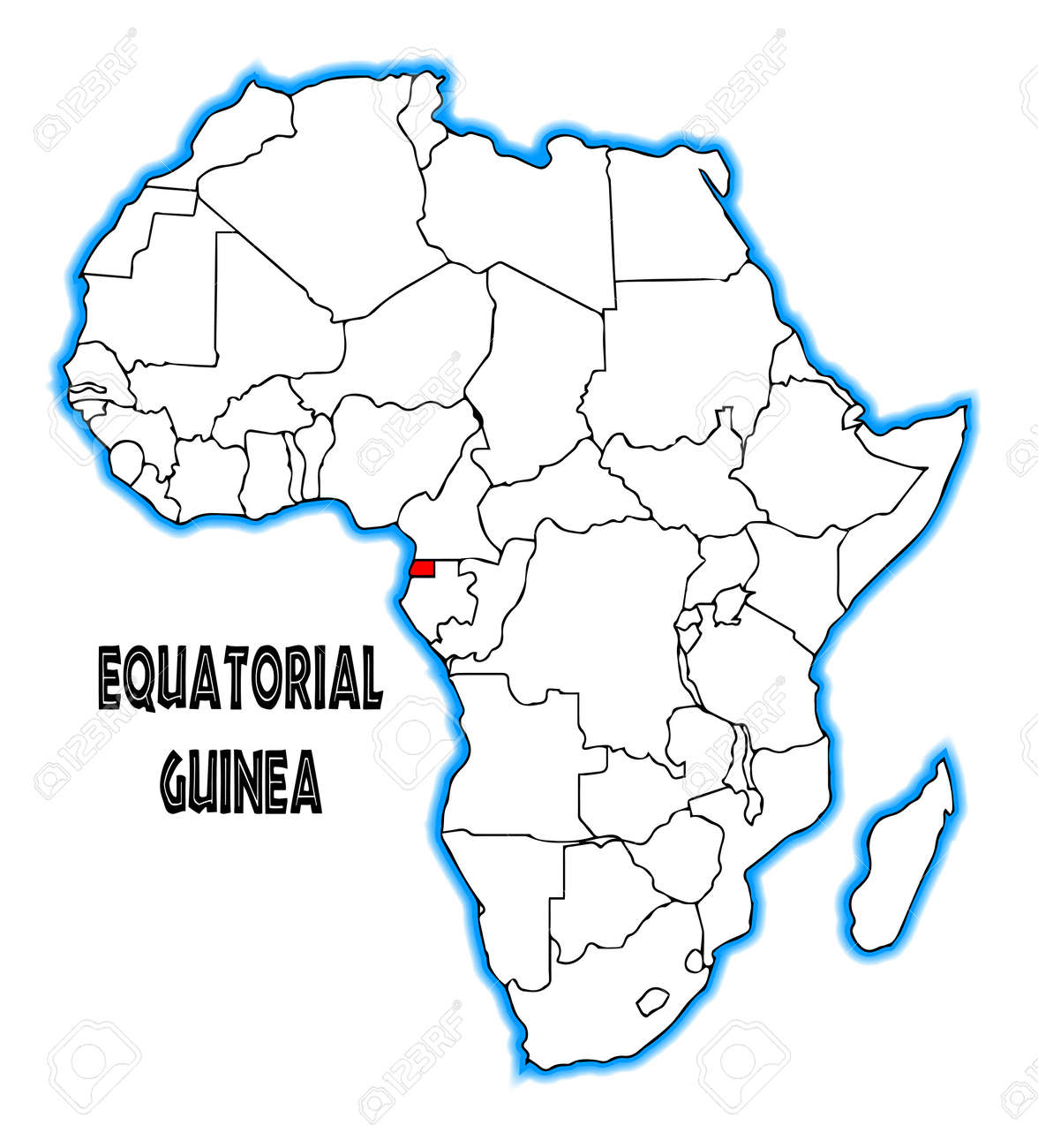 Equatorial Guinea Outline Inset Into A Map Of Africa Over A White